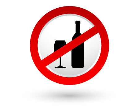 banned: stop alcohol sign with shadow and wine bottle, glass