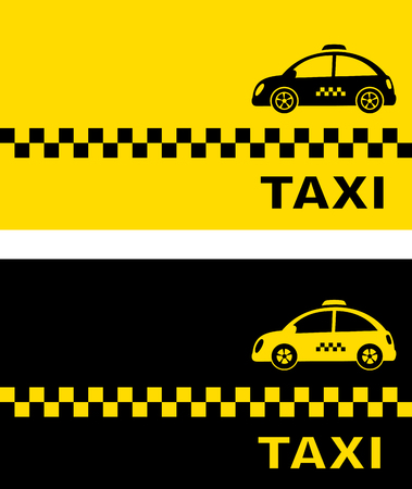 yellow card: black and yellow business card with retro taxi car