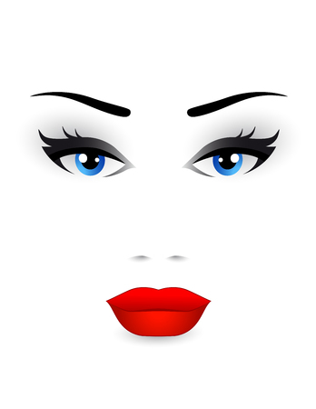 blue eyes: beautiful woman face with blue eyes and red lips on white background