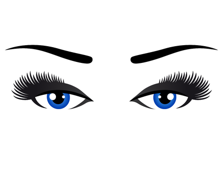 blue eyes: blue eyes with long eyelashes on white background