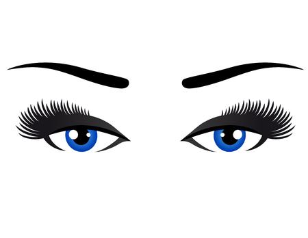 ojos azules: ojos azules con largas pestañas sobre fondo blanco Vectores