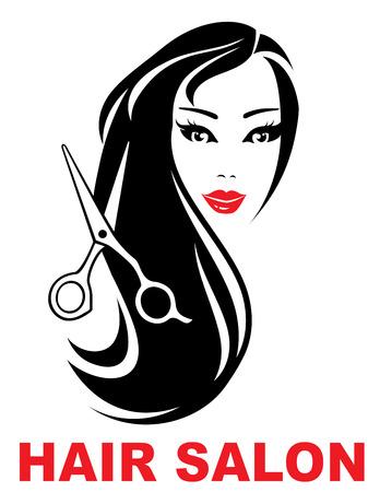 icono de peluquería con la cara de la mujer y el pelo largo hermoso Ilustración de vector
