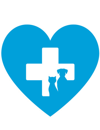 cat call: veterinary icon with cross and pet on blue heart background