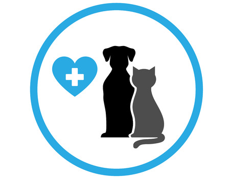 veterinary icon: round veterinary icon with pet and heart in frame