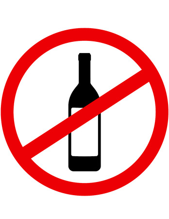 sign stop alcohol and wine bottle with label Illustration