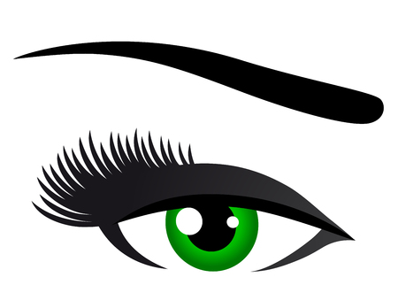 green eye: green eye with long eyelashes on white background