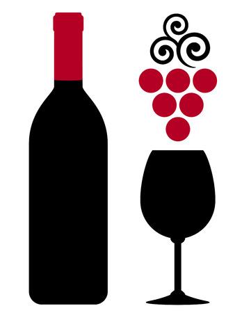 vinho: garrafa de vinho com vidro e uva vermelha sobre fundo branco Ilustração