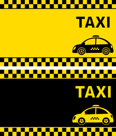 black and yellow business cards and retro taxi with checkered stripe Çizim