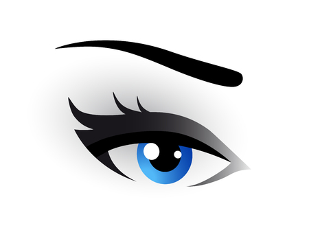 blue woman eye makeup on white background