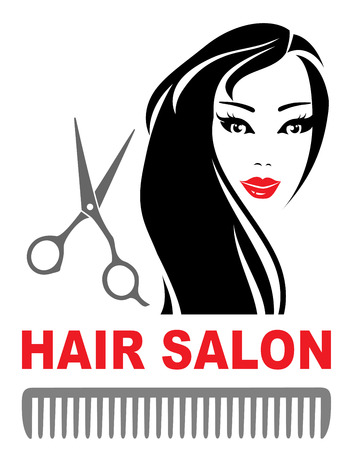 scissors cut: hair salon icon with pretty girl with long hair, scissors and comb