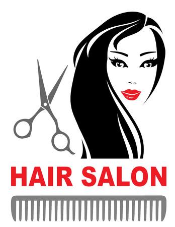 tijeras: icono de peluquería con una chica guapa con el pelo largo, tijeras y el peine