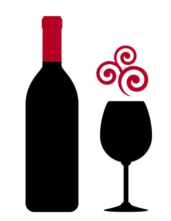 red wine bottle, glass and vine grape design element