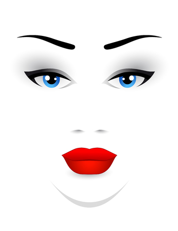 red lips: woman face with red lips and blue eyes on white background
