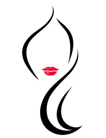 güzellik: sanat kadın yüz silueti ile kuaför simgesi Çizim