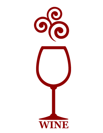 red wine goblet with decorative element on white background Illustration