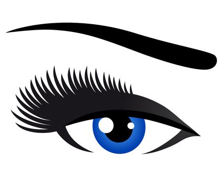 lash: blue eye with long eyelashes on white background Illustration