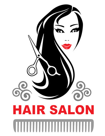 decorative hair salon icon with young pretty girl with long black hair Çizim