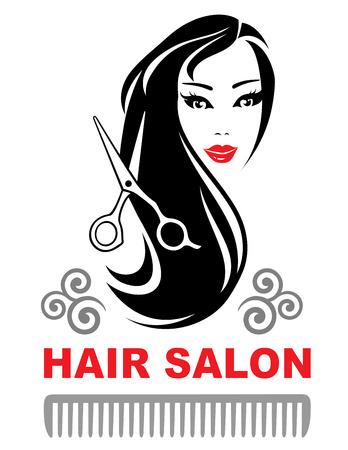 Decorativo icono de peluquería con la muchacha joven y bonita con el pelo largo y negro Foto de archivo - 49596215
