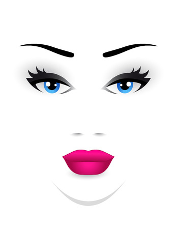 pretty eyes: young woman face with blue eye and pink lips Illustration