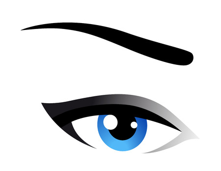 cornea: blue woman eye icon on white background