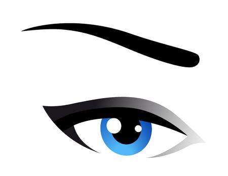 blue eye: blue woman eye icon on white background