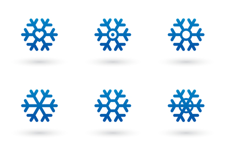 polar climate: set of isolated blue snowflake silhouette with shadow Illustration