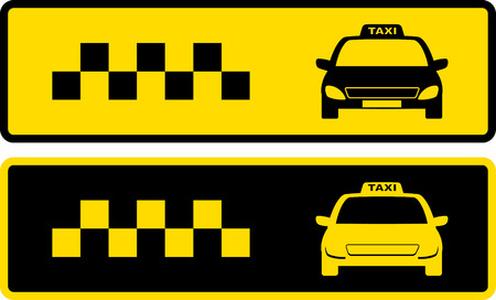 yellow taxi: black and yellow taxi icons set with cars silhouette Illustration