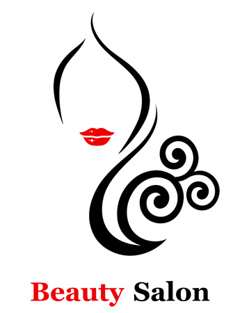 beauty salon icon with woman face and long hair