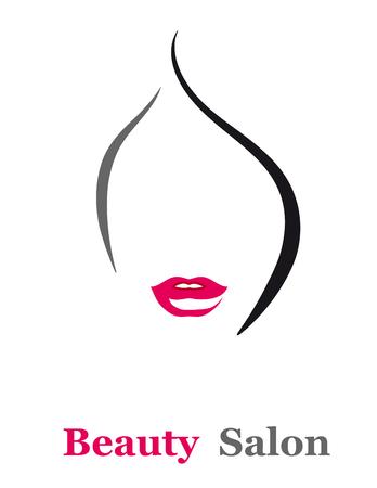 salón de belleza cartel con la cara silueta de la mujer
