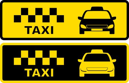 Fije los iconos negros y amarillos con el símbolo de taxi con vehículos silueta Ilustración de vector