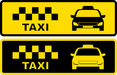 set black and yellow icons with taxi symbol with cars silhouette Vettoriali