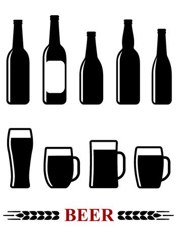 isolated beer bottle and mug set icons on white background