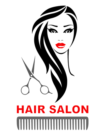 hair salon icon with woman face, scissors and comb silhouette