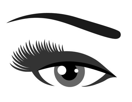 lash: grey eye with eyelashes on white background