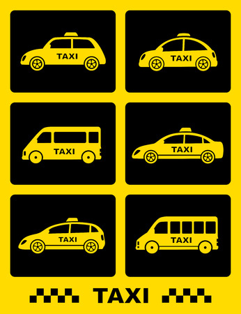 icon buttons: set of taxi car icon on black buttons and yellow background
