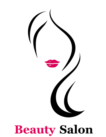 style beauty salon icon with isolated woman silhouette with red lips Çizim