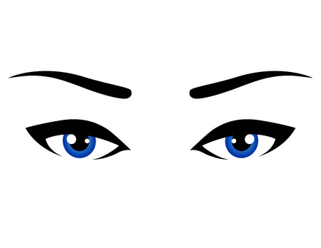 woman eye: abstract blue woman eyes on white background