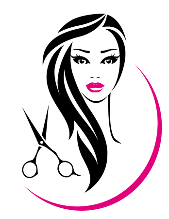 hair salon sign with pretty woman face and scissors silhouette