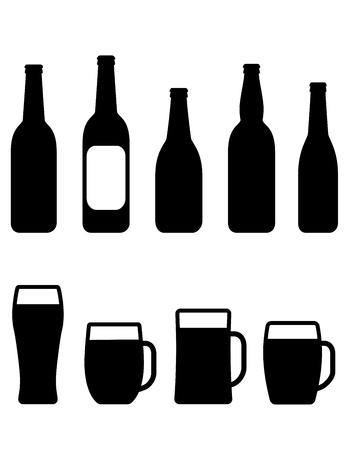 botellas de cerveza: conjunto de botella de cerveza y tazas de la silueta en negro Vectores