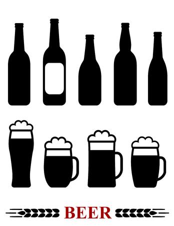 botellas de cerveza: aislado conjunto con la botella de cerveza y de la taza con la silueta de espuma