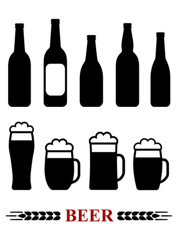 beer foam: isolated set with beer bottle and mug with foam silhouette