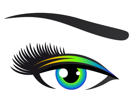 colorful human eye on white background with eyelashes Illustration