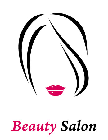 sexy brunette woman: hair salon sign with isolated woman silhouette and red lips Illustration