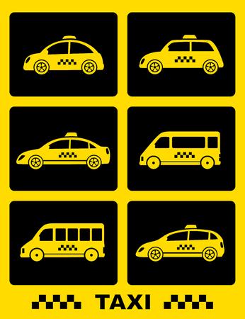 Set Icons mit Taxi Auto auf schwarzen Tasten auf gelbem Hintergrund