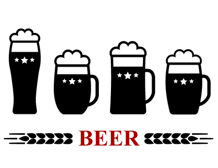 froth: set of black beer mug with froth silhouette