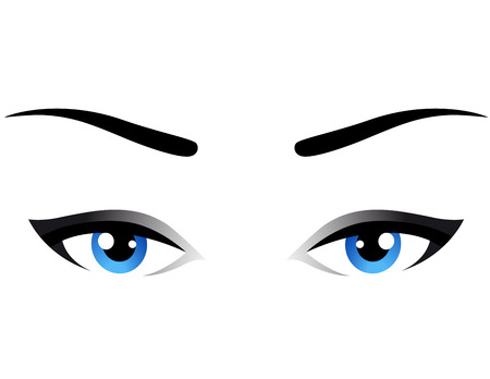 blue eyes: blue woman eyes icon on white background