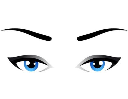 yeux bleus femme icône sur fond blanc