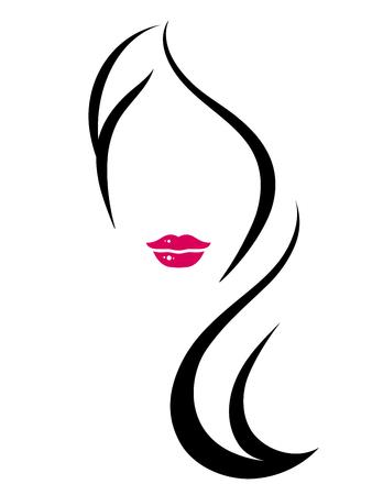 COne de estilo arte com silhueta de mulher e cabelos longos Foto de archivo - 52487201