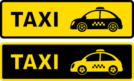 checkered: set of two black and yellow retro taxi sign with retro cars silhouette