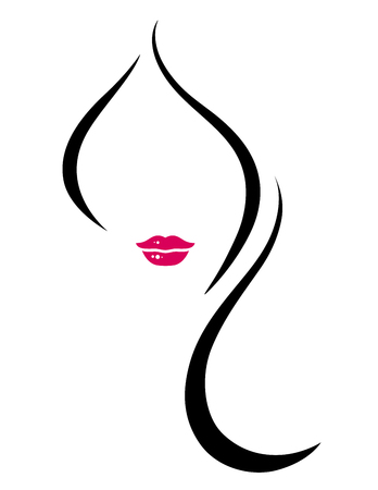 hair and beauty: isolated beauty symbol with silhouette of woman face with long hair
